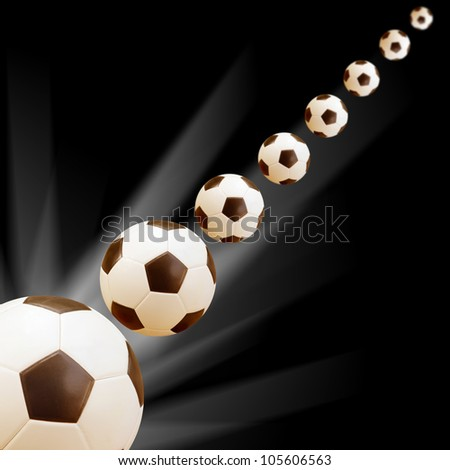 soccer Ball  with abstract black and light background