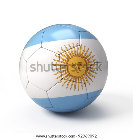 Soccer ball with Argentinean flag isolated on white