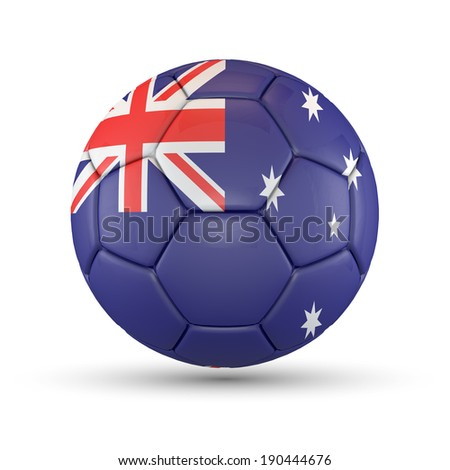 Soccer ball with Australia flag isolated on white. - stock photo