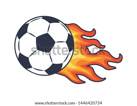 Soccer ball with black and white panels leaving behind fire trace raster illustration for sport theme poster. color football symbol isolated on white.