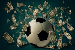 Soccer ball with dollar bills. Betting ideas