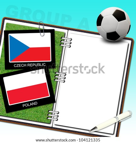 Soccer ball with flag czech republic and poland