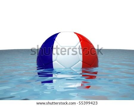 Soccer ball with French flag in water