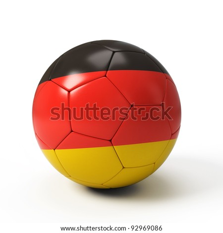 Soccer ball with German flag isolated on white