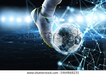 Soccer ball with internet network effect. Concept of digital bet Foto stock ©