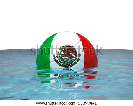 Soccer ball with Mexican flag in water