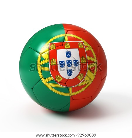Soccer ball with Portuguese flag isolated on white