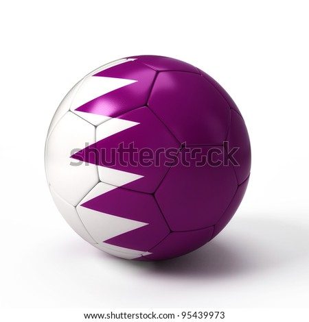 Soccer ball with Qatari flag isolated on white