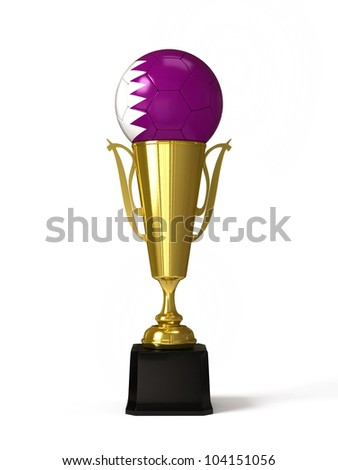 Soccer ball with Qatari flag, on golden trophy cup
