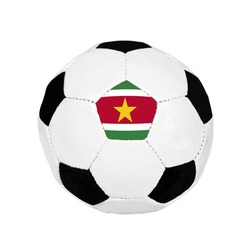 Soccer ball with Suriname flag on the surface isolated on white background