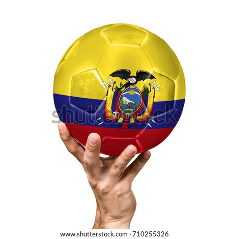 soccer ball with the image of the flag of Ecuador, ball isolated on white background. #710255326