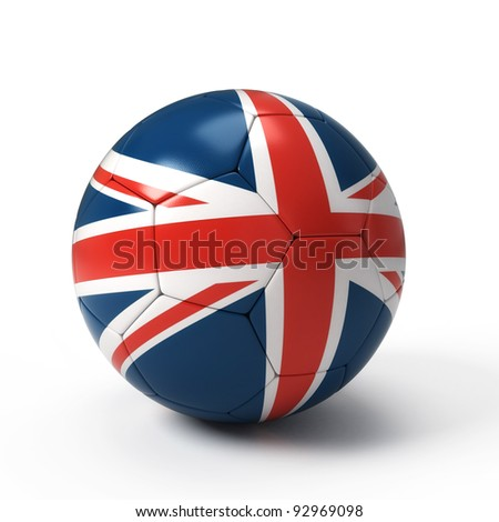 Soccer ball with United Kingdom flag isolated on white