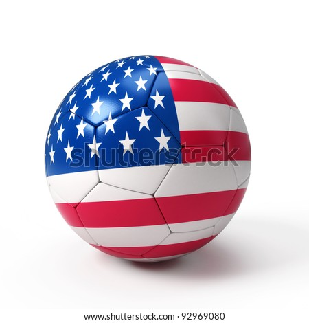Soccer ball with United States flag isolated on white