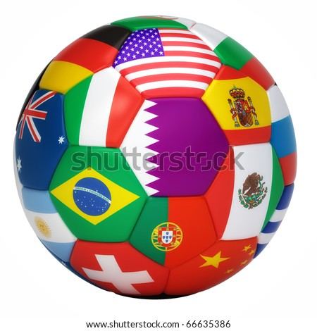 Soccer ball with world flags isolated on white