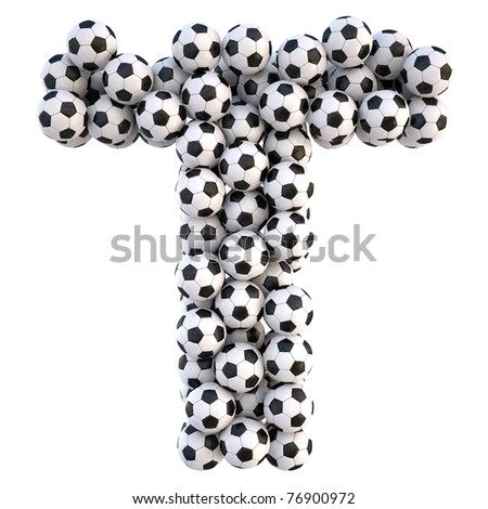 soccer balls in the form of letters. isolated on white. with clipping path.