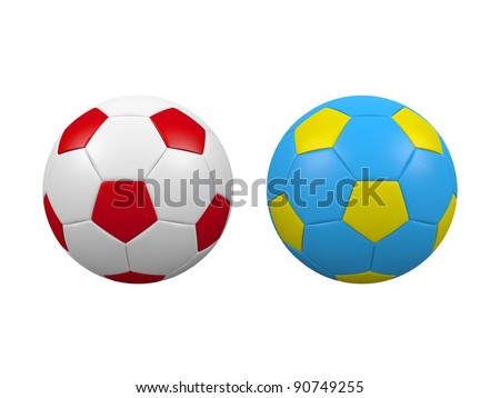 Soccer balls isolated on a white background. Balls has Poland and Ukraine flags colors.Poland and Ukraine are euro 2012 organizers.