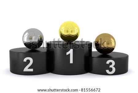 soccer balls on a winner's podium