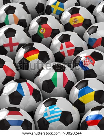 Soccer Balls with the flag of all participating national teams of the 2012 European Championship