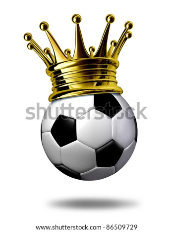 Soccer champion symbol represented by a golden crown on a black and white soccer ball or as called in Europe a football representing the winning of a tournament or game.