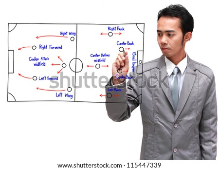 soccer coach drawing strategy plan, isolated on white background
