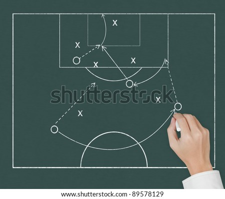 soccer coach hand drawing strategy plan on chalkboard