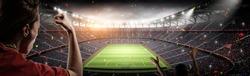 soccer fans vs 3d rendering stadium imaginary