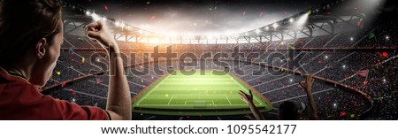 soccer fans vs 3d rendering stadium imaginary #1095542177