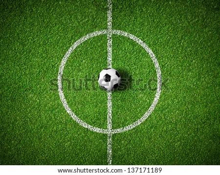 soccer field center and ball top view background