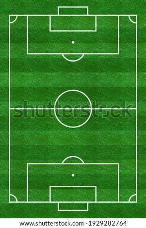 Soccer field. Football stadium. Vertical background of green grass painted with line. Sport play. Overhead view. Pitch green. Ground pattern texture. Playground top plan. Fotball court. Illustration