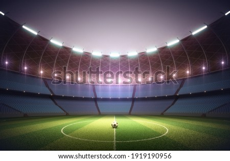 Soccer field in the sports stadium. Soccer ball illuminated in the center by the surrounding lights. 3D illustration.