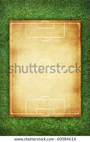 Soccer field pattern on vintage background in the green grass