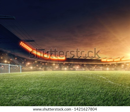 Soccer field. Sports event. Dramatic night sky. 3D rendering #1421627804