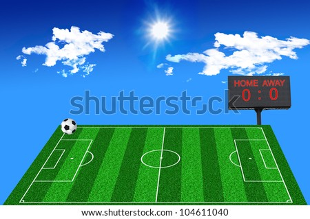 Soccer field white scoreboard on blue sky