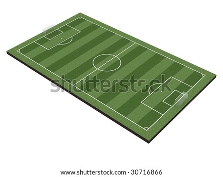 Soccer field with gates, corner flags and soccer ball, isolated on white. High resolution 3D image
