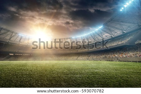 soccer field with green grass #593070782