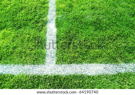 Soccer field with green grass and white lines