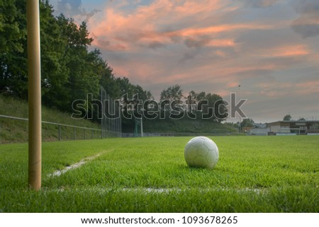 Soccer field with soccer ball and line #1093678265