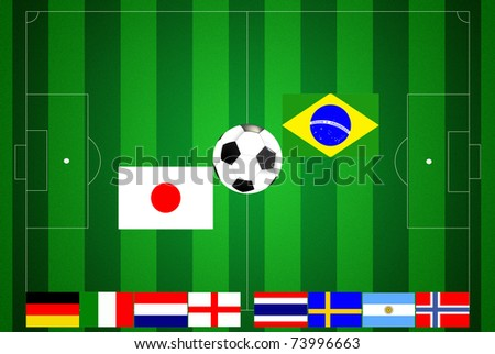 Soccer field with ten flags final.