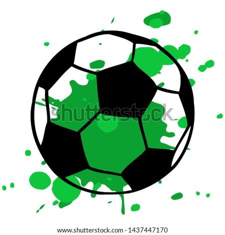 Soccer, football ball and artistic green splatter illustration isolated over white. Sport game equipment.