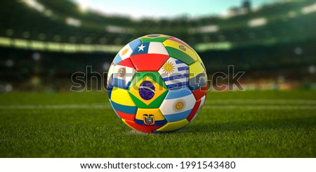 Soccer Football ball with flags of south america countries on the grass of football stadium. America championship 2021. 3d illustration Сток-фото ©