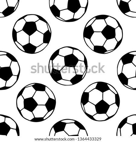 Soccer, football balls seamless pattern in black and white. Sport game equipment background.