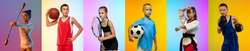 Soccer football, basketball, taekwondo, boxing, gymnastics and tennis. Collage of different little sportsmen in action and motion isolated on multicolored background in neon. Flyer. Sport for kids
