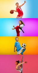 Soccer football, basketball, taekwondo, gymnastics. Collage of different little sportsmen in action and motion isolated on multicolored background in neon. Flyer. Sport for kids concept