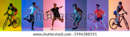 Soccer football, cycling, tennis athletics. Collage of professional sportsmen in action and motion isolated on multicolored background in neon light. Flyer. Advertising, sport life concept Foto stock ©