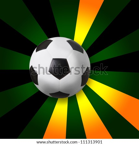 soccer football on color ray background