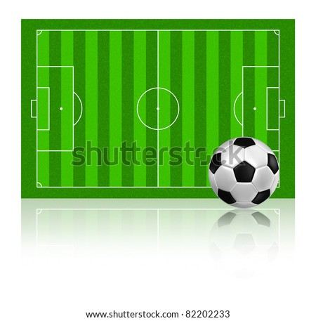soccer football on grass field with reflect