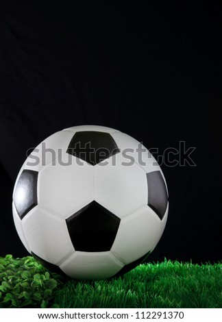 soccer football on gree grass field with black background