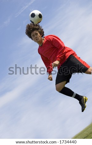Soccer - Football Player making header