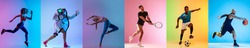 Soccer football, running, fitness, gymnastics, basketball, boxing and tennis. Collage of different professional sportsmen in action and motion isolated on multicolored background in neon. Flyer for ad