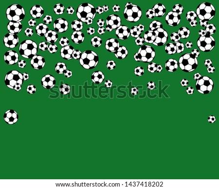 Soccer, football scattered balls blank frame. Background illustration over green grass field. Sport game equipment wallpaper. Horizontal format.
